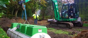 A Tricel sewage treatment plant being installed